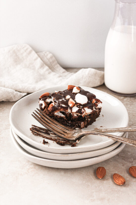 Gluten-Free Rocky Road Brownie on stack of plates.
